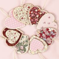 Wooden Hearts for hanging, decorated with Fabric Decoupage