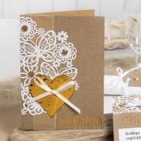 An Invitation decorated with Lace patterned Card, Deco Foil Heart and Rhinestones