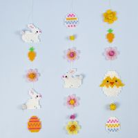 An Easter Garland made from Nabbi Fuse Bead Easter Bunnies, Easter Eggs, Flowers and an Easter Chick