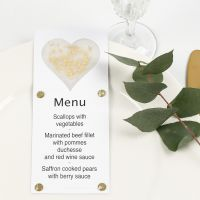 A Menu Card decorated with a Vellum Paper Heart, Glitter and Rhinestones