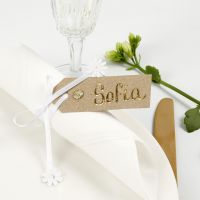 A Place Card from a Manilla Tag decorated with Deco Foil, Rhinestones and Satin Ribbon