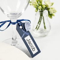 A Place Card from a Manilla Tag decorated with Card Balloons and Deco Foil