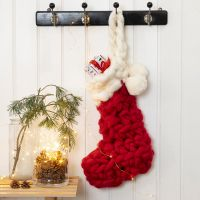 A crocheted Christmas Stocking for Advent Calendar Presents