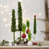 Christmas Trees and Christmas Decorations from real Greenery decorated with mini Glass Beads