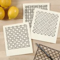 Environmentally friendly  Dishcloth decorated with  Patterns using a Stencil and Textile Marker