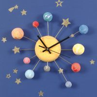 A Wall Clock decorated with Silk Clay Planets, Star Stickers and Bonsai Wire