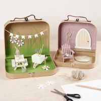 Small Suitcases transformed into a Garden World with Paint, miniature Furniture and Accessories