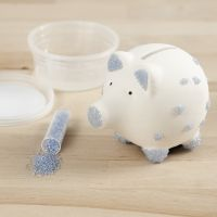 A Piggy Bank decorated with Rocaille Seed Beads and Sticky Base
