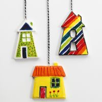 Colourful Porcelain Houses for hanging