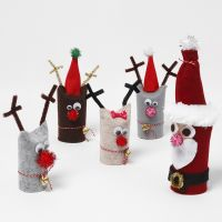 Father Christmas and Reindeer from recycled Cardboard Tubes