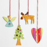 Wooden Christmas hanging Decorations with Rhinestones