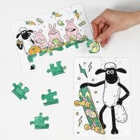 A Shawn the Sheep jigsaw puzzle decorated with markers