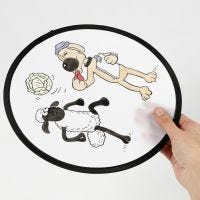 A Shaun the Sheep Frisbee decorated  with textile markers