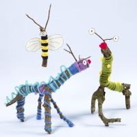 Animals and insects made from twigs, sticks, wool and Sticky Base