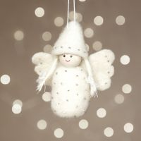 An angel needle-felted onto polystyrene