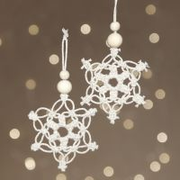 Macramé snowflakes for hanging