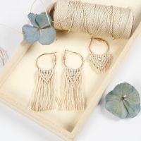 Beading hoop earrings with macramé pendants