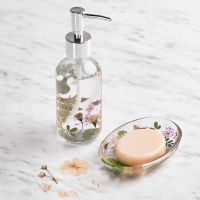 Decorate a soap dish and soap dispenser with pressed flowers