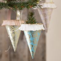 Cones made from handmade paper