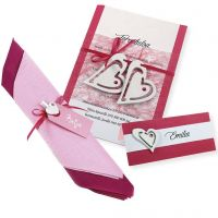A pink and white Invitation, Place Card and Napkin Decoration