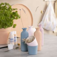 Plaster painted vases, pots & tray