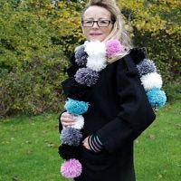 A Pom-Pom Scarf and Wrist Warmers